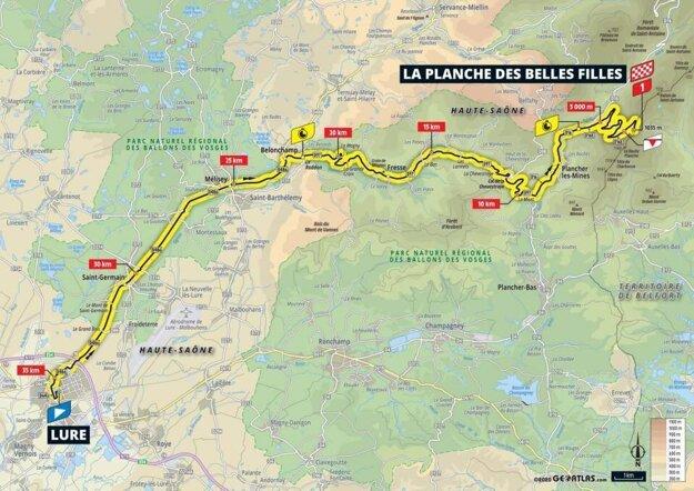 20. etapa na Tour de France 2020 - mapa.