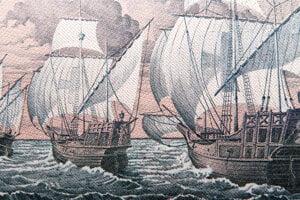 Maľba troch Kolumbusových lodí, Niñy, Pinty a Santa Marie. Krátko po návrate moreplavca do Európy prepukla epidémia syfilisu. Kolumbusa vinili, že ju na starý kontinent priviedol.