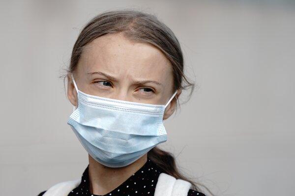 Greta Thunbergová po príchode do Berlína.