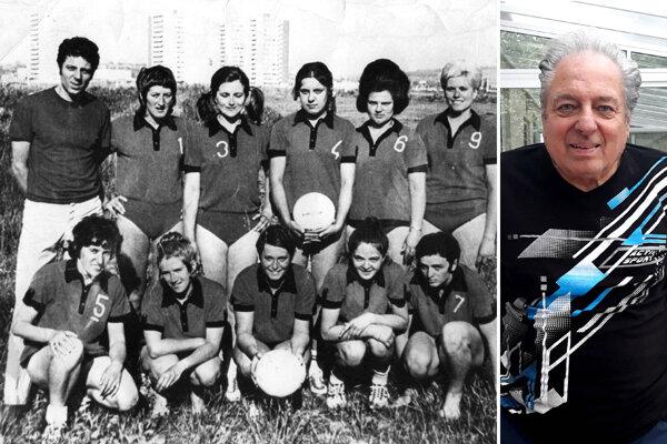 Karol Felix vľavo ako tréner žien Nitry v roku 1971. Vpravo ako osemdesiatnik v súčasnosti.