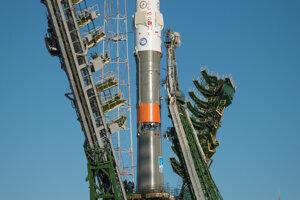 Pesquet letel do vesmíru prvýkrát na lodi Sojuz. Na zábere jeho misia Expedícia 50 pred štartom.