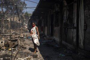 Žena v utečeneckom tábore Moria na gréckom ostrove Lesbos.