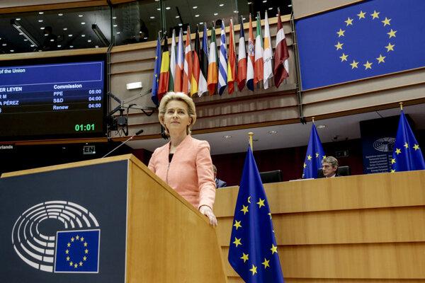 Predsedníčka Európskej komisie Ursula von der Leyenová počas prejavu o stave EÚ a ďalších plánoch.