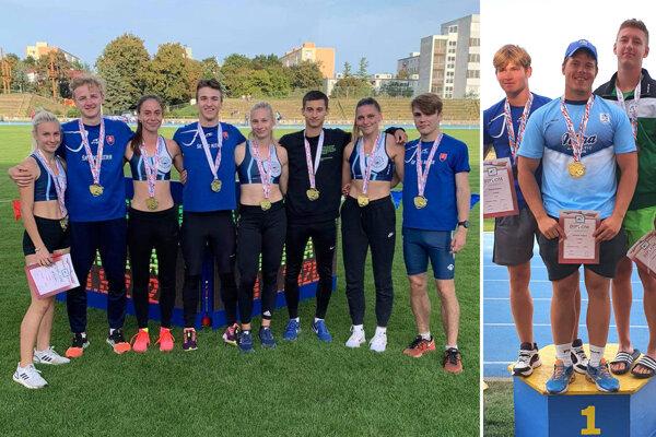 Vľavo časť juniorských atlétov ŠK ŠOG Nitra. Na druhej fotke v strede Jaroslav Greguš z AC Stavbár Nitra.