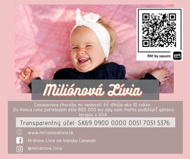 Transparentný účet pre malú Líviu.
