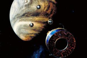 Umelecká predstava družici Pioneer 13, ktorá vypustila sondy na prieskum Venuše. Autori novej štúdie veria, že v starých údajoch z misie našli stopy po fosfáne.