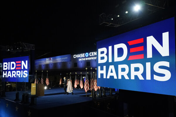 Volebná centrála demokratov vo Wilmingtone.