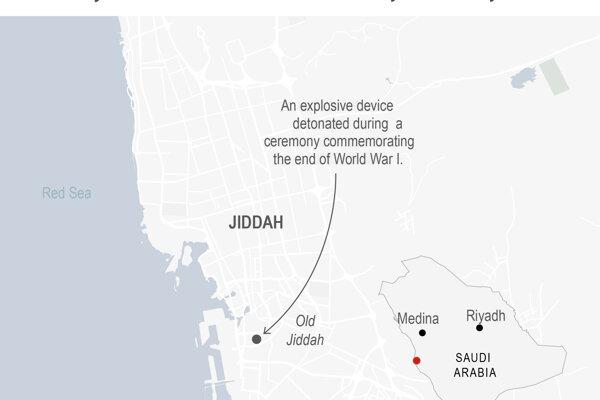 Mapa, ktorá zobrazuje  saudskoarabské mesto Džidda, v ktorom došlo k bombového útoku počas ceremónie na cintoríne pri príležitosti 102. výročia konca prvej svetovej vojny v stredu 11. novembra.