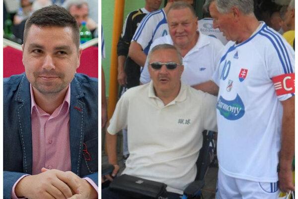 Bývalý futbalista Humenného Peter Chren (vľavo) vyzval reprezentantov na podporu niekdajšieho ligistu Miroslava Labuna.