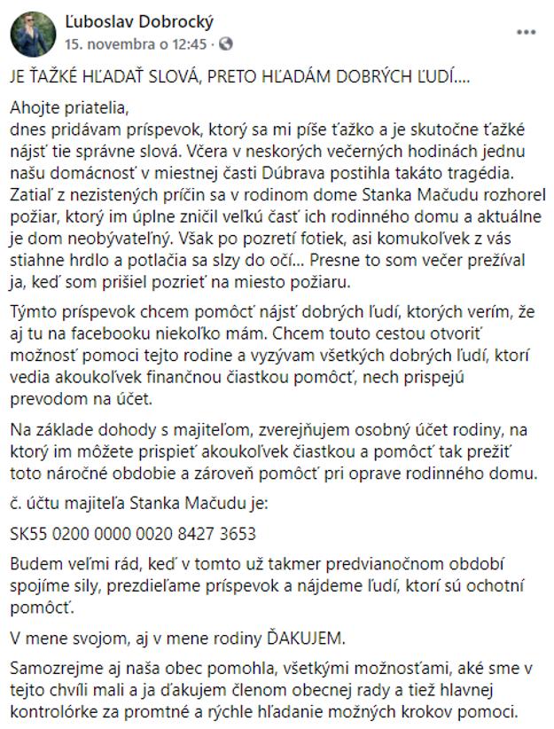 Status Ľuboslava Dobrockého, starostu Dolnej Strehovej, na sociálnej sieti.