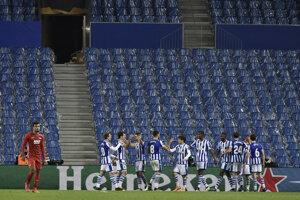 Futbalisti Realu Sociedad na ilustračnom zábere.