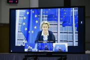 Predsedníčka Európskej komisie Ursula von der Leyenová počas videokonferencie.