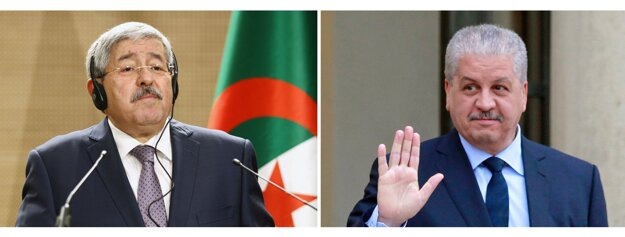 Bývalí alžírski premiéri Ahmad Ujahjá (vľavo) a Abdalmálik Salál.