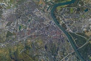 Letecký pohľad na Bratislavu.