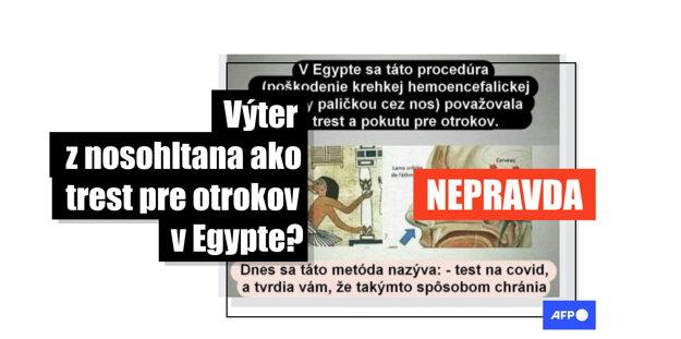 Stovky používateľov Facebooku zdieľali v januári 2021 príspevky s obrázkom, podľa ktorého boli otroci v starom Egypte trestaní poškodením hematoencefalickej bariéry a čuchového nervu prostredníctvom paličky cez nos podobnej tej, aká sa používa pri teste na ochorenie COVID-19. Tieto tvrdenia sú nepravdivé. Obrázok síce pochádza z Egypta, ale zobrazuje vyšetrenie oka. Podľa odborníkov sú testy z nosohltana bezpečné a mozog pri nich nie je poškodený. TASR na dezinformácie upozorňuje v spolupráci s tlačovou agentúrou AFP.