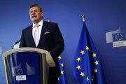 Podpredseda Európskej komisie (EK) pre medziinštitucionálne vzťahy a strategický výhľad Maroš Šefčovič počas vyhlásenia o Európskej aliancii pre batérie (EBA) v sídle Európskej komisie 26. januára 2021 v Bruseli.