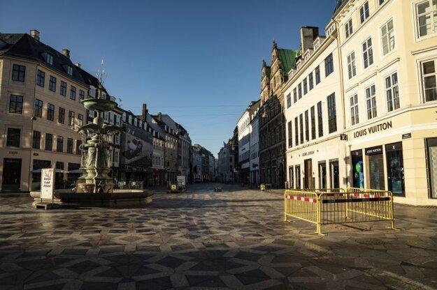 Vyprázdnené centrum Kodane 12. januára.
