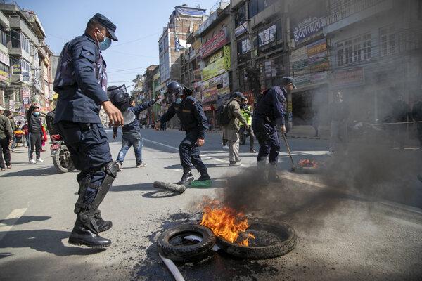Násilné protesty v Káthmandu.