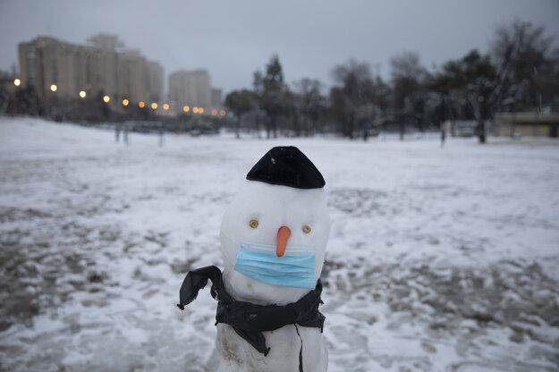 Snehuliak ozdobený rúškom a reflexnou vestou v jeruzalemskom parku.