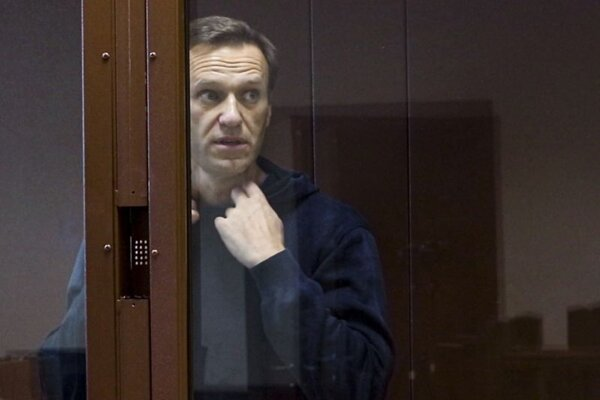 Alexej Navaľnyj v budove súdu v Moskve 16. februára.