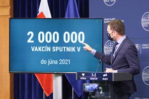 Premiér na tlačovej konferencii o vakcíne Sputnik.