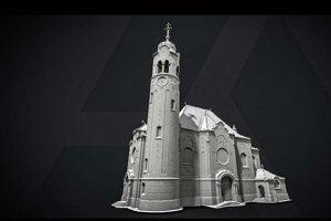 3D model modrého kostolíka v Bratislave vytvorený pomocou softvéru Capturing Reality