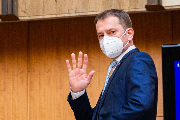 Premiér Igor Matovič na vláde.