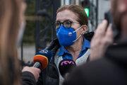 Predsedníčka poslaneckého klubu SaS Anna Zemanová pred rokovaním strán o riešení vládnej krízy.