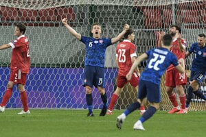 Slovensko - Rusko 2:1. Radosť Tomáša Hubočana po góle.