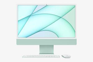 Apple iMac s klávesnicou a myškou.