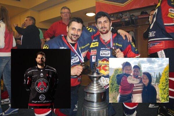 Milan Jurík (vpravo) s bratom s majstrovskou trofejou, s rodinou a v drese Mullhouse.