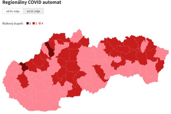 Covid automat od 10. mája:Pozrite si rozdelenie okresov.