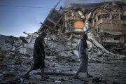 Zničená trinásťpochodová budova v Gaze.