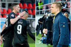Traja z viacerých včerajších hrdinov FC ViOn: strelci Filip Balaj a Marek Švec a tréner Ľuboš Benkovský.