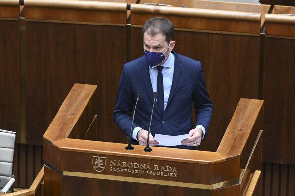 Minister financií Igor Matovič v piatok v parlamente.