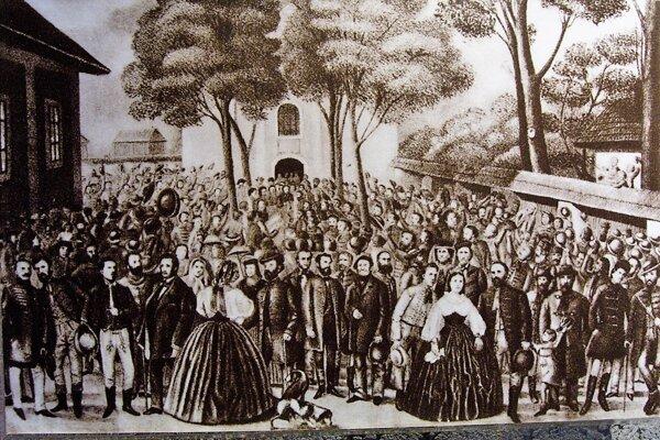 Účastníci memorandového zhromaždenia vTurčianskom Sv. Martine.