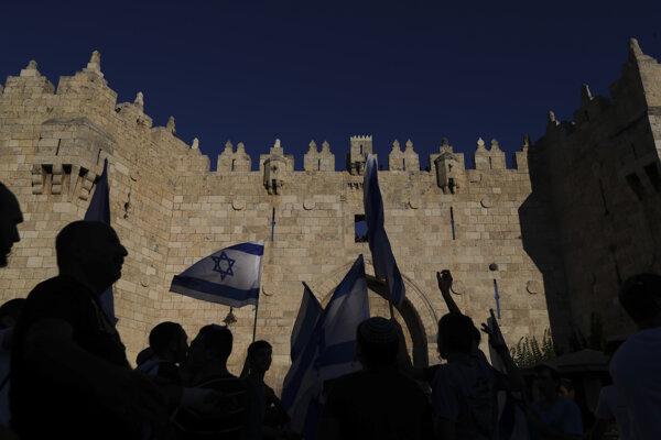 Vlajkový pochod v Jeruzaleme.