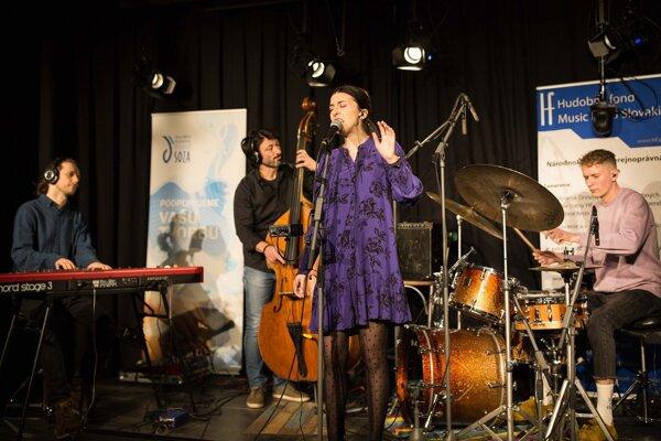 Lenka Gálisová Quartet na súťaži Nové tváre slovenského jazzu.