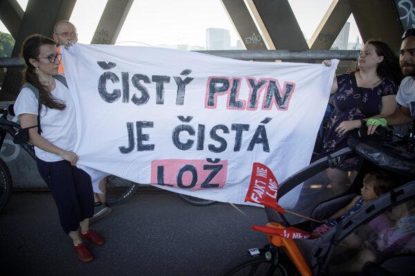 Aktivisti počas protestu proti výstavbe LNG terminálu.