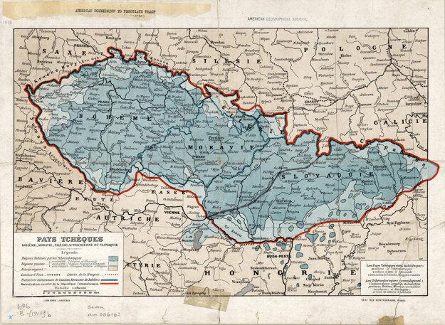Rodiaci sa štát mal veľa verzí na mapách, táto je z roku 1919.