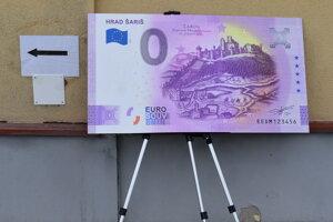 Nulová bankovka s hradom Šariš.