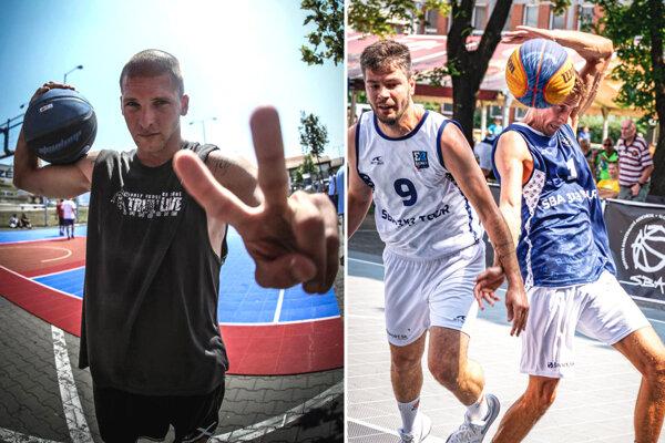"""Peter Zákopčan alias """"Zaki"""" pozýva milovníkov streetballu a basketbalu na výnimočnú akciu. Teší sa na ňu aj Maroš Nemček (v bielom drese)."""