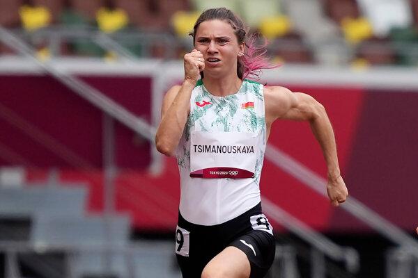 Bieloruská bežkyňa Kryscina Cimanovská na LOH Tokio 2020 / 2021.