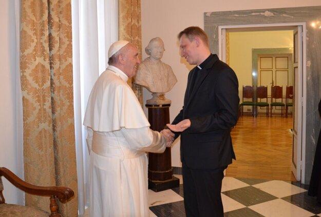 Peter Sýkora a pápež František.