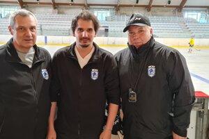 Trénerský trojlístok HC Lučenec. Zľava: Jaromír Dragan, Lukáš Plešavský a Ladislav Majerčík