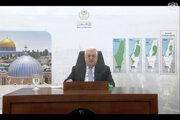 Palestínsky prezident Mahmúd Abbás počas vopred nahratého príhovoru na Valnom zhromaždení OSN.