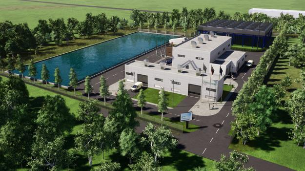 Približná vizualizácia geotermálnej elektrárne pri Prešove.