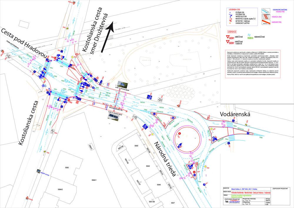 Najnovší projekt počíta na križovatke Kostolianska cesta – Národná trieda – Vodárenská – Podhradová už len so semaformi (vľavo na mapke). Okružná križovatka by vznikla až v tesnom susedstve na súbehu ulíc Vodárenská a Národná trieda (vpravo na mapke).