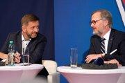 Petr Fiala (vpravo) by mal byť v prípadnej vláde premiérom, Vít Rakušan ministrom vnútra.