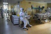 Covidové oddelenie v moskovskej nemocnici.